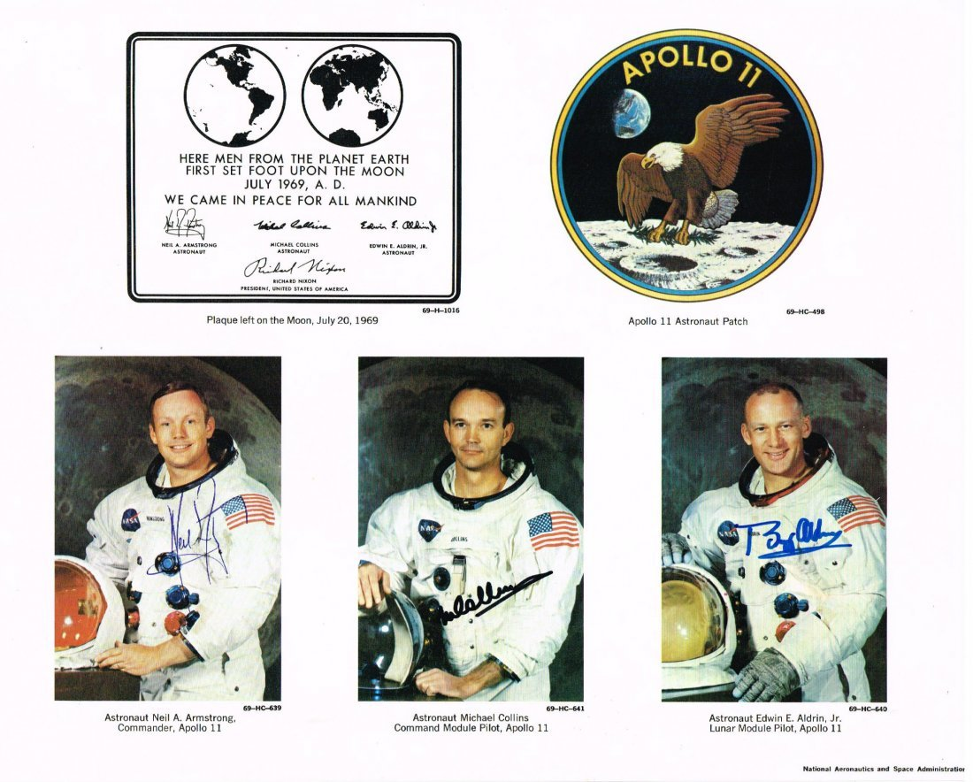 ARMSTRONG, COLLINS AND ALDRIN SIGNED.
