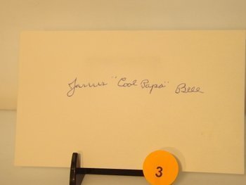 """James """"Cool Papa"""" Bell Die Cut Autograph - appraised or"""