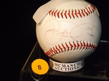 Brian Roberts Autographed Baseball.  Pro 2 Official