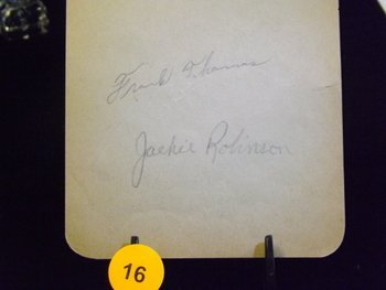Jackie Robinson Die Cut Autograph with Frank Thomas