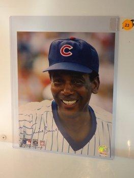 Ernie Banks Autogrpahed Photo.  8x10 Color Photo.