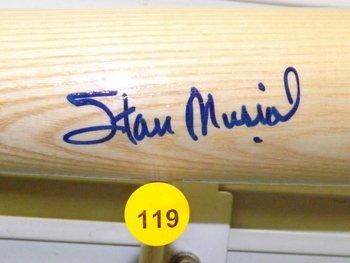 Stan Musial Autographed Baseball Bat.  Rawlings Big - 2
