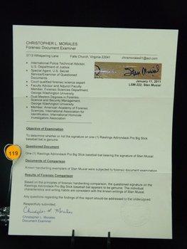 Stan Musial Autographed Baseball Bat.  Rawlings Big - 4