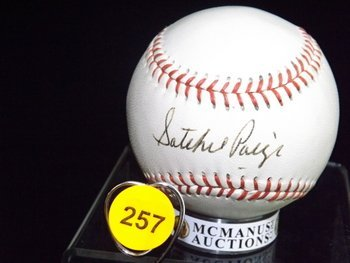 "Satchel Paige Autographed Baseball.  Wilson ""GO GO SOX"""