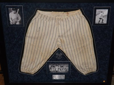 Babe Ruth Autographed Practice Pants. Framed Lowe and