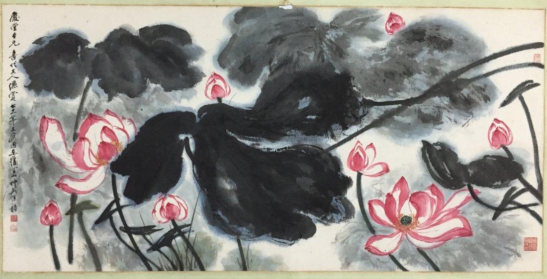 Chinese Painting By Kuang Zhong Ying Mounted