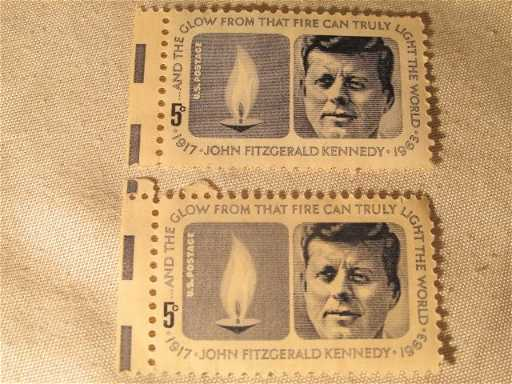 2 1963 John Fitzgerald Kennedy 5 Cent Postage Stamps