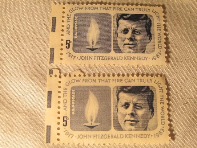 2-   1963 John Fitzgerald Kennedy 5 Cent Postage Stamps