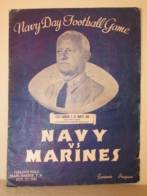 Rare 1945 Pearl Harbor NAVY vs MARINES FOOTBALL PROGRAM