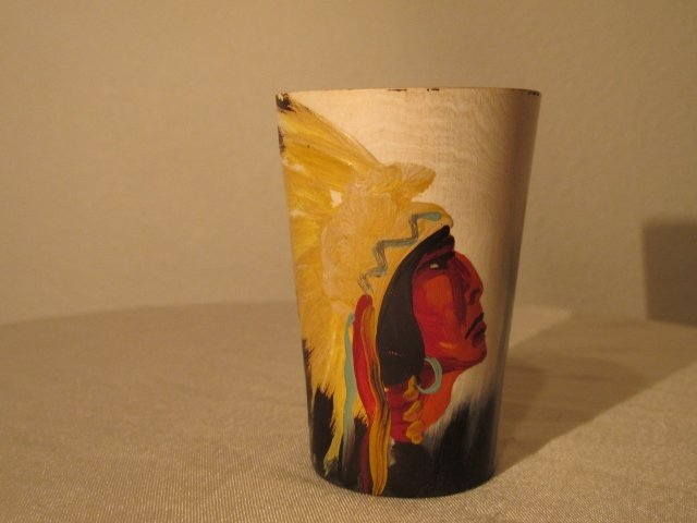 Horn Cup with Native American painting