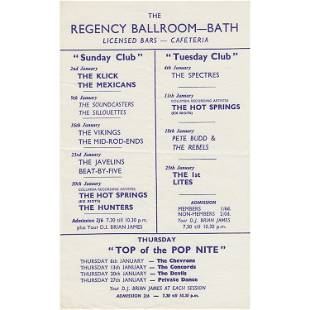 Regency Ballroom Bath UK 1966 Concert Handbill