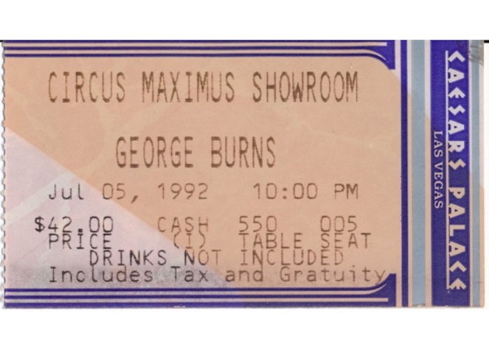 George Burns Autograph with Caesars Palace Ticket Stub - 2