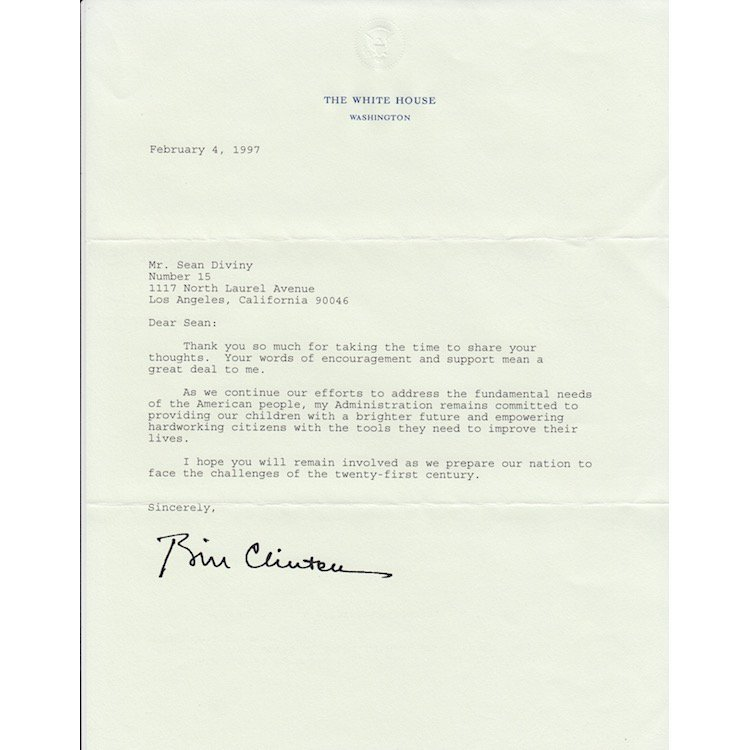 Bill Clinton - 1997 Presidential Thank You Letter