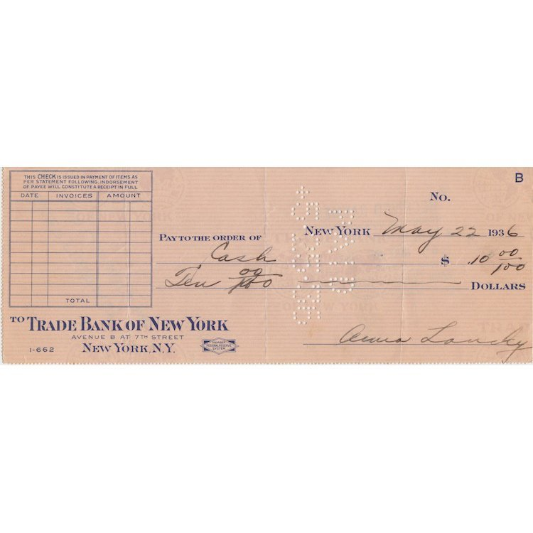Anne Lansky - 1938 Autographed Hand-signed Bank Check