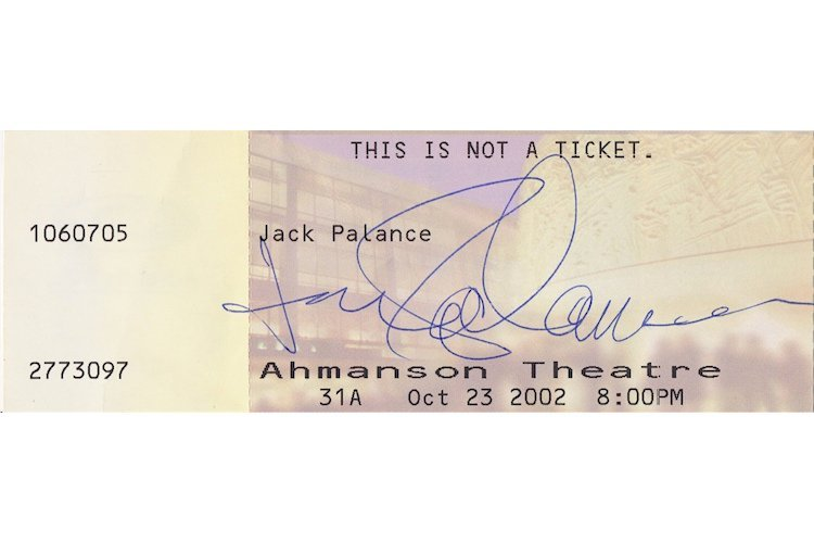 Jack Palance - Autographed Hand-signed Theater Ticket - 2