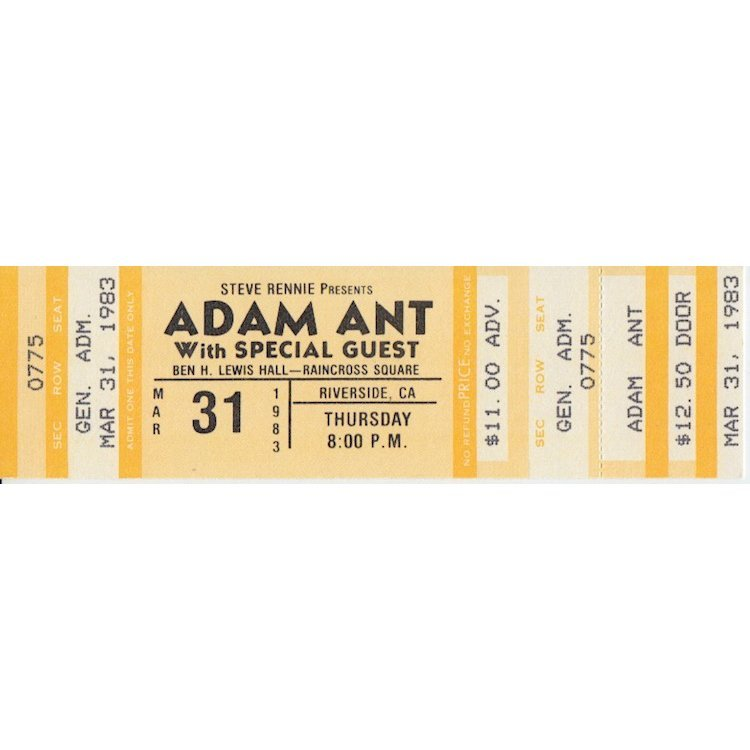 Adam Ant - 1983 Vintage Concert Ticket