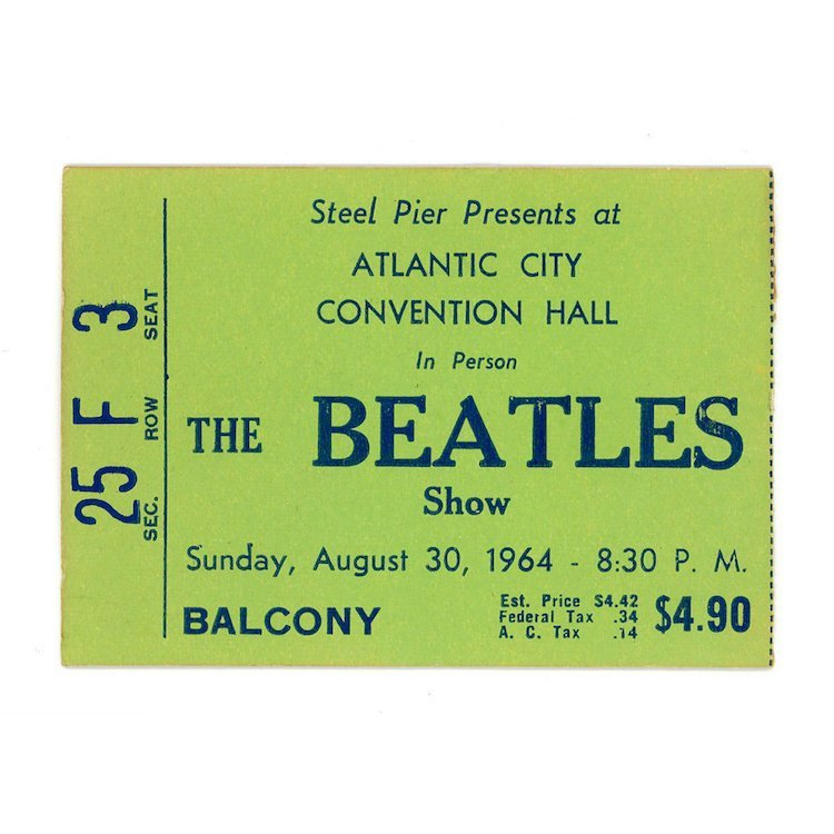 Beatles - Steel Pier - 1964 Vintage Concert Ticket