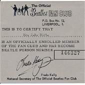 Beatles  1968 Liverpool Fan Club Membership Card