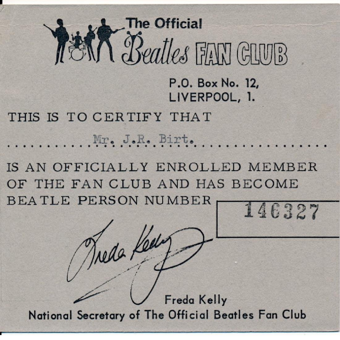 Beatles - 1968 Liverpool Fan Club Membership Card
