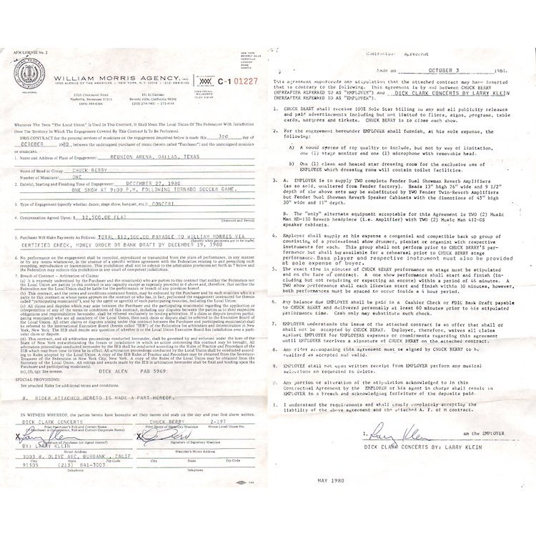 Chuck Berry - 1980 Signed Performance Contract