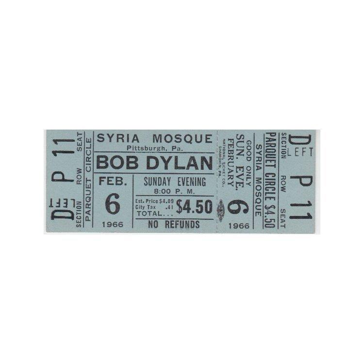 Bob Dylan - 1966 Vintage Concert Ticket