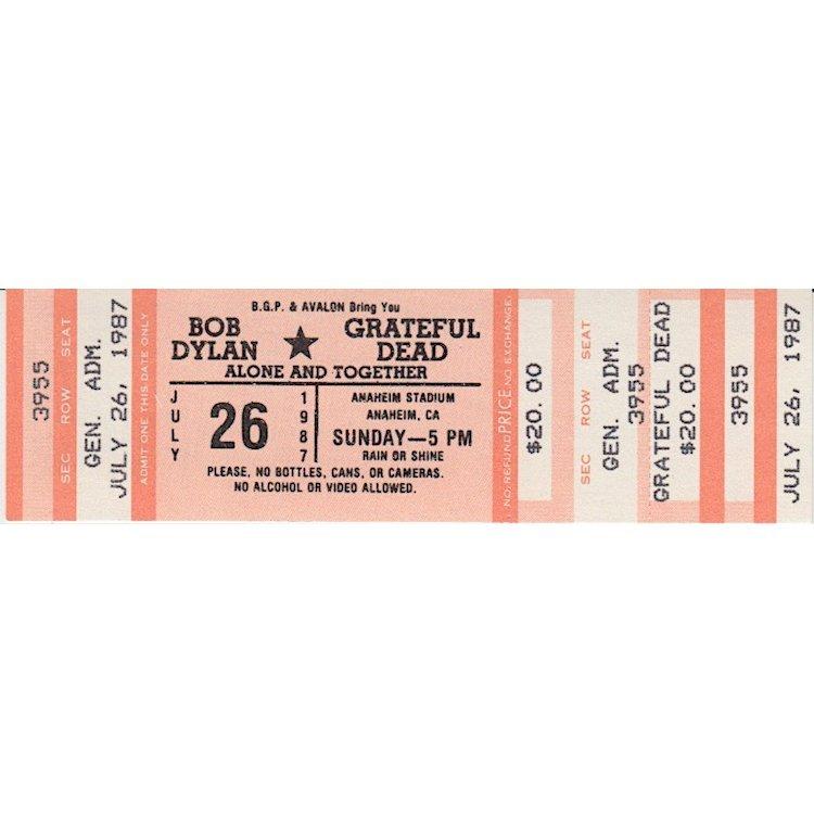 Bob Dylan - Grateful Dead - 1978 Vintage Concert Ticket
