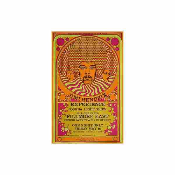 Jimi Hendrix - Fillmore East 1968 Concert Poster