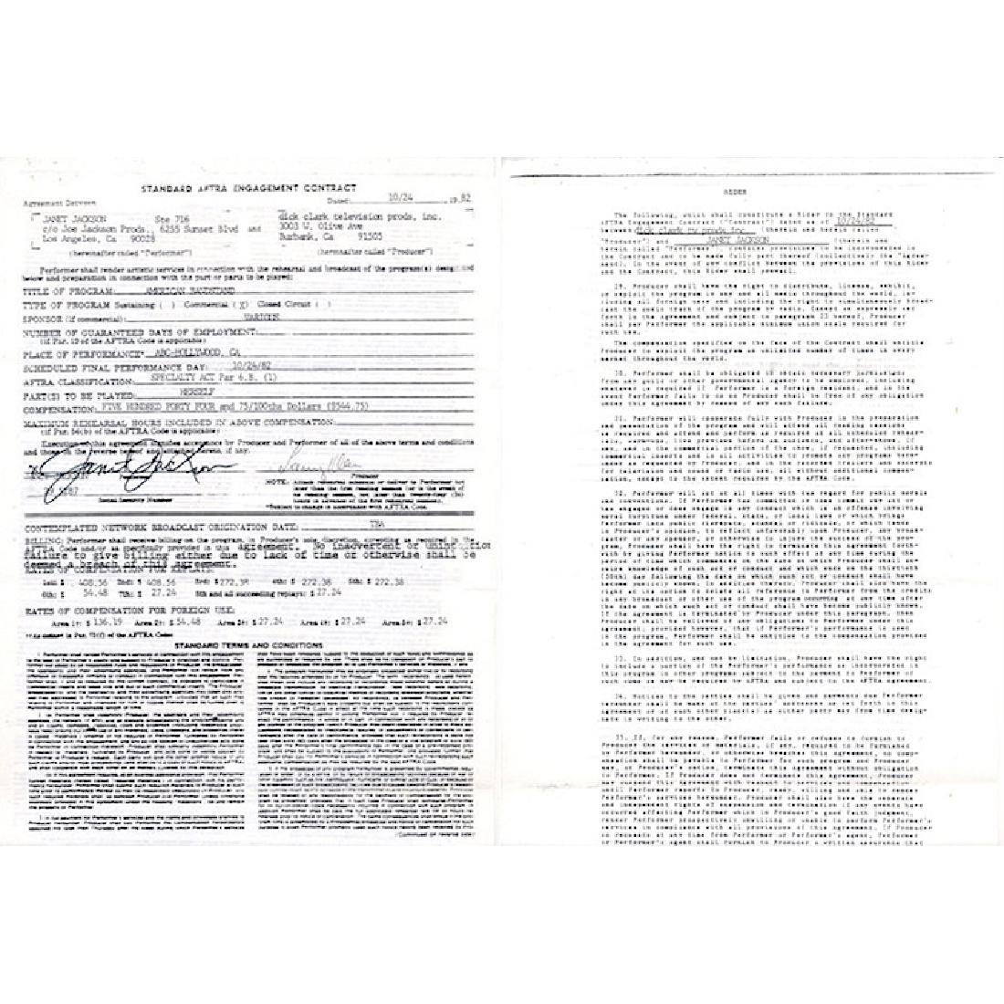 Janet Jackson - 1982 Signed Performance Contract