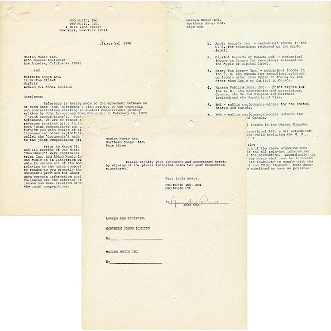 Yoko Ono - John Lennon - 1975 Correspondence Letter