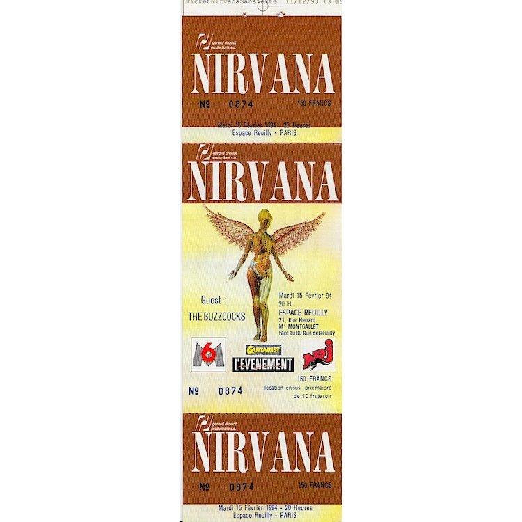 Nirvana - In Utero European Tour - 1994 Concert Ticket