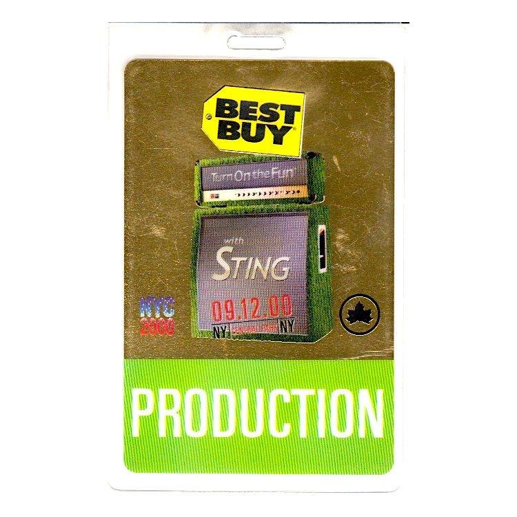 Sting - Central Park Concert - 2000 Laminate Backstage