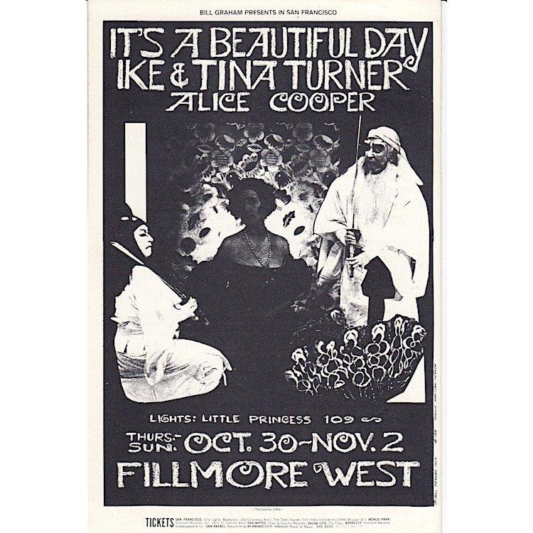 Ike & Tina Turner - Alice Cooper - 1969 Handbill