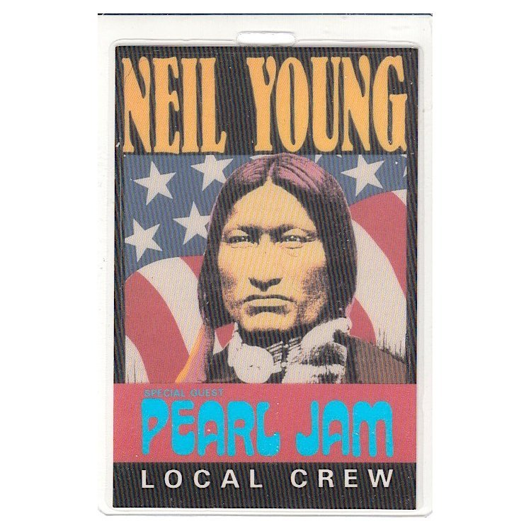 Neil Young - Pearl Jam - 1993 Laminated Backstage Pass