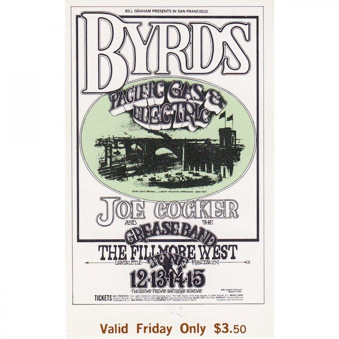 The Byrds - Fillmore - 1969 Vintage Concert Ticket