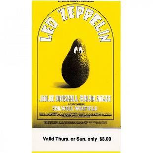 Led Zeppelin Fillmore 1969 Vintage Concert Ticket
