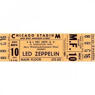 Led Zeppelin 1980 Vintage Concert Ticket