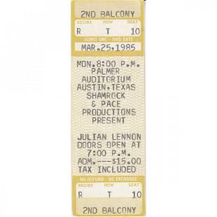 Julian Lennon 1985 Vintage Concert Ticket