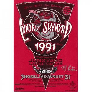 Lynyrd Skynyrd Randy Tuten Signed 1991 Concert