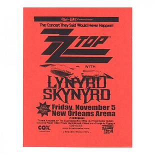 Lynyrd Skynryd ZZ Top 1999 Concert Handbill