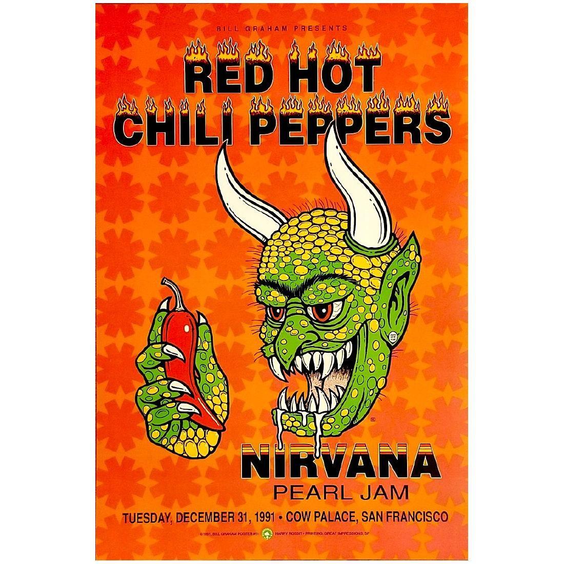 Nirvana - RHCP - Pearl Jam - 1991 Concert Poster