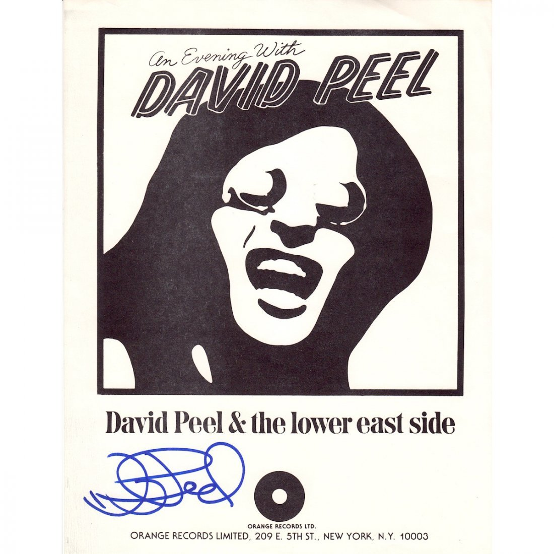 David Peel - Autographed Flyer