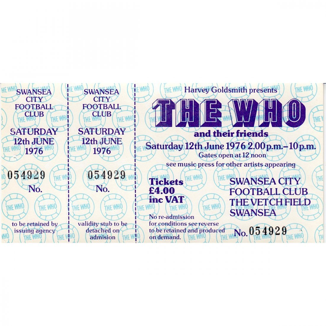 The Who - 1976 Vintage Concert Ticket