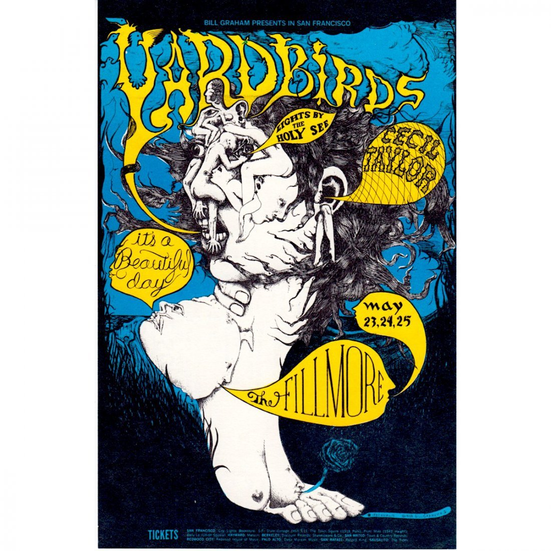 The Yardbirds - 1968 Fillmore Concert Handbill