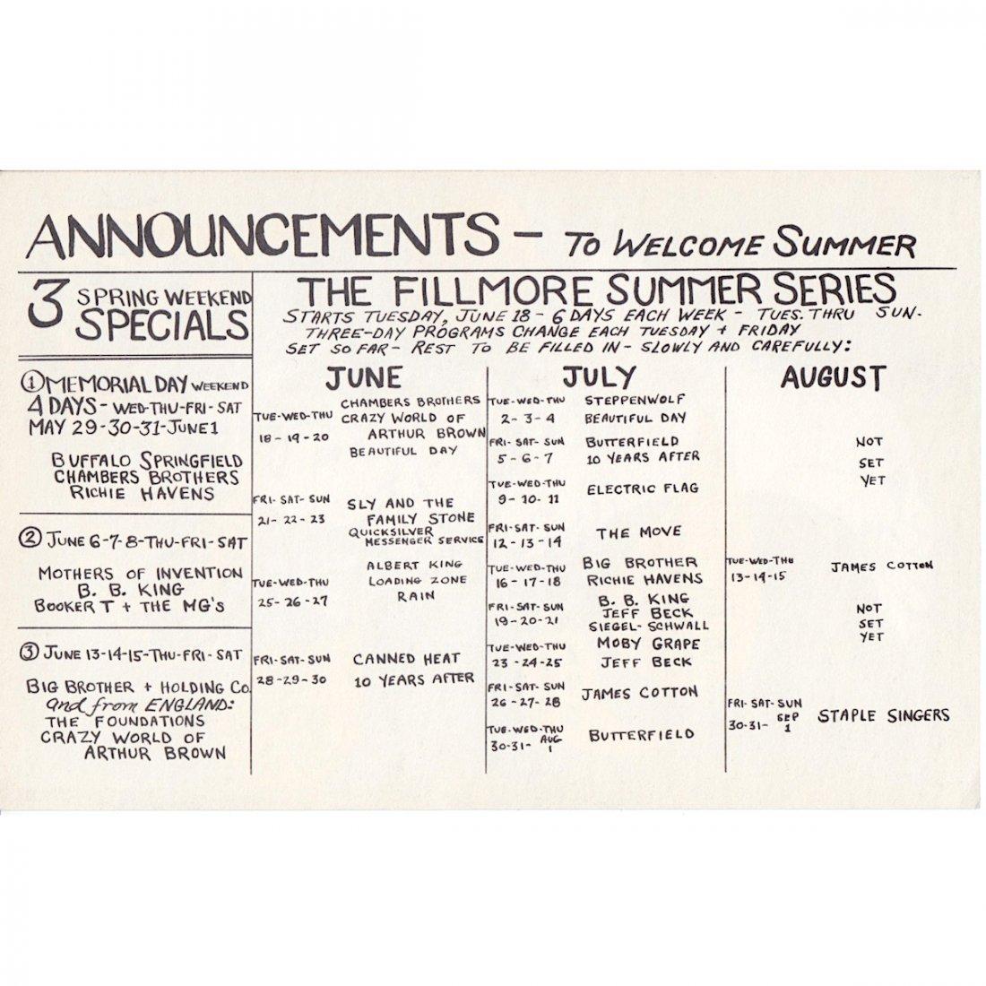 The Yardbirds - 1968 Fillmore Concert Handbill - 2