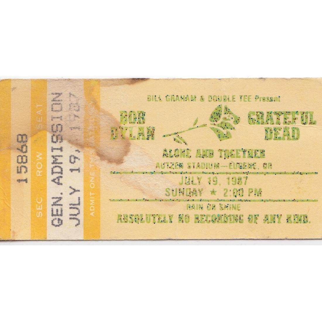 Grateful Dead - Bob Dylan - 1987 Vintage Concert Ticket