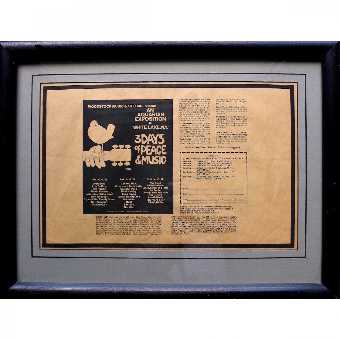 Woodstock - 1969 Newspaper Ticket Order Form