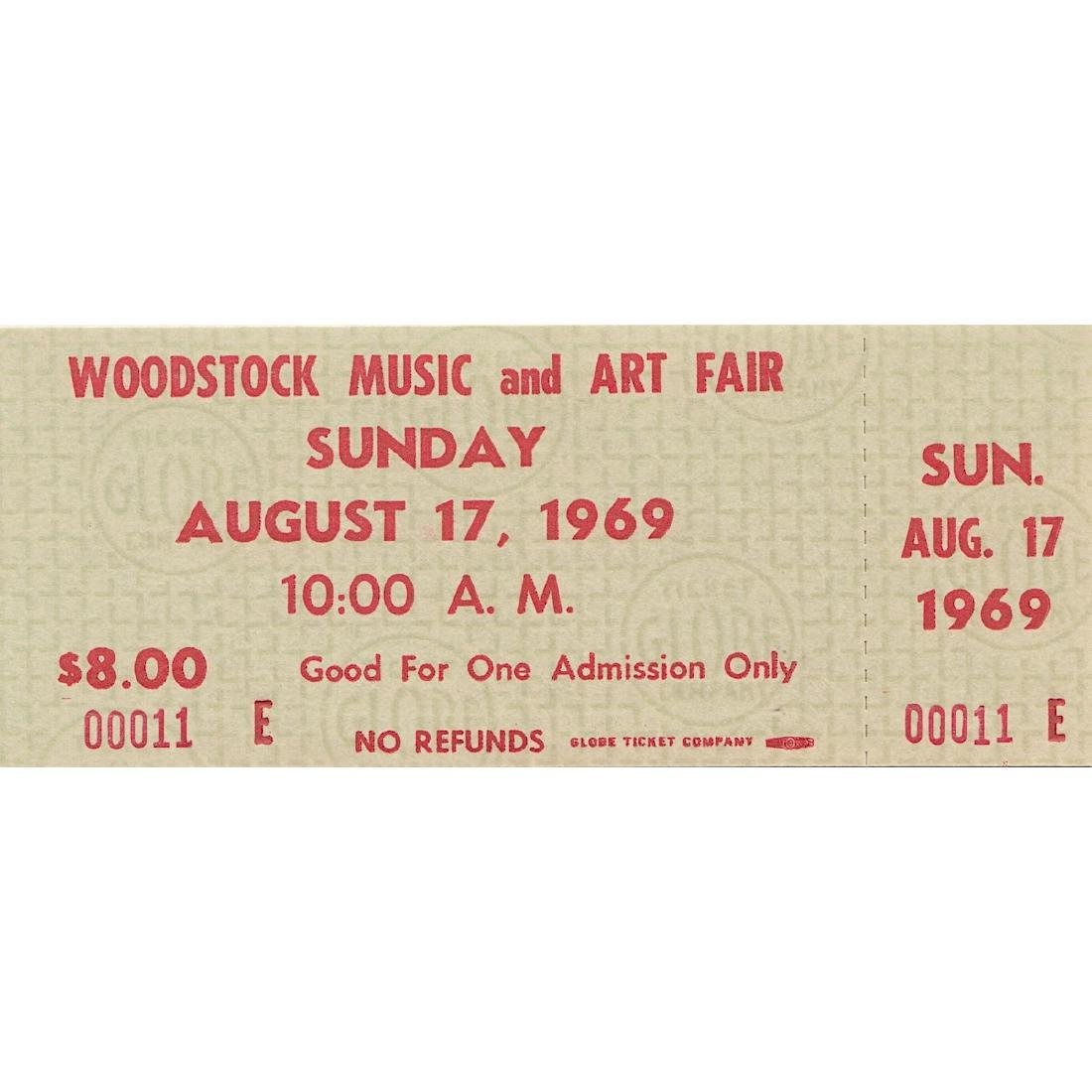 Woodstock - 1969 Ticket Numbered #00011