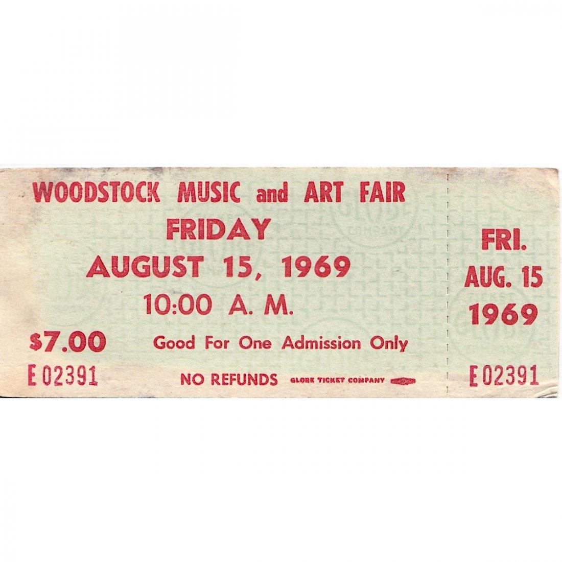 Woodstock - 1969 Advanced $7.00 Vintage Concert Ticket