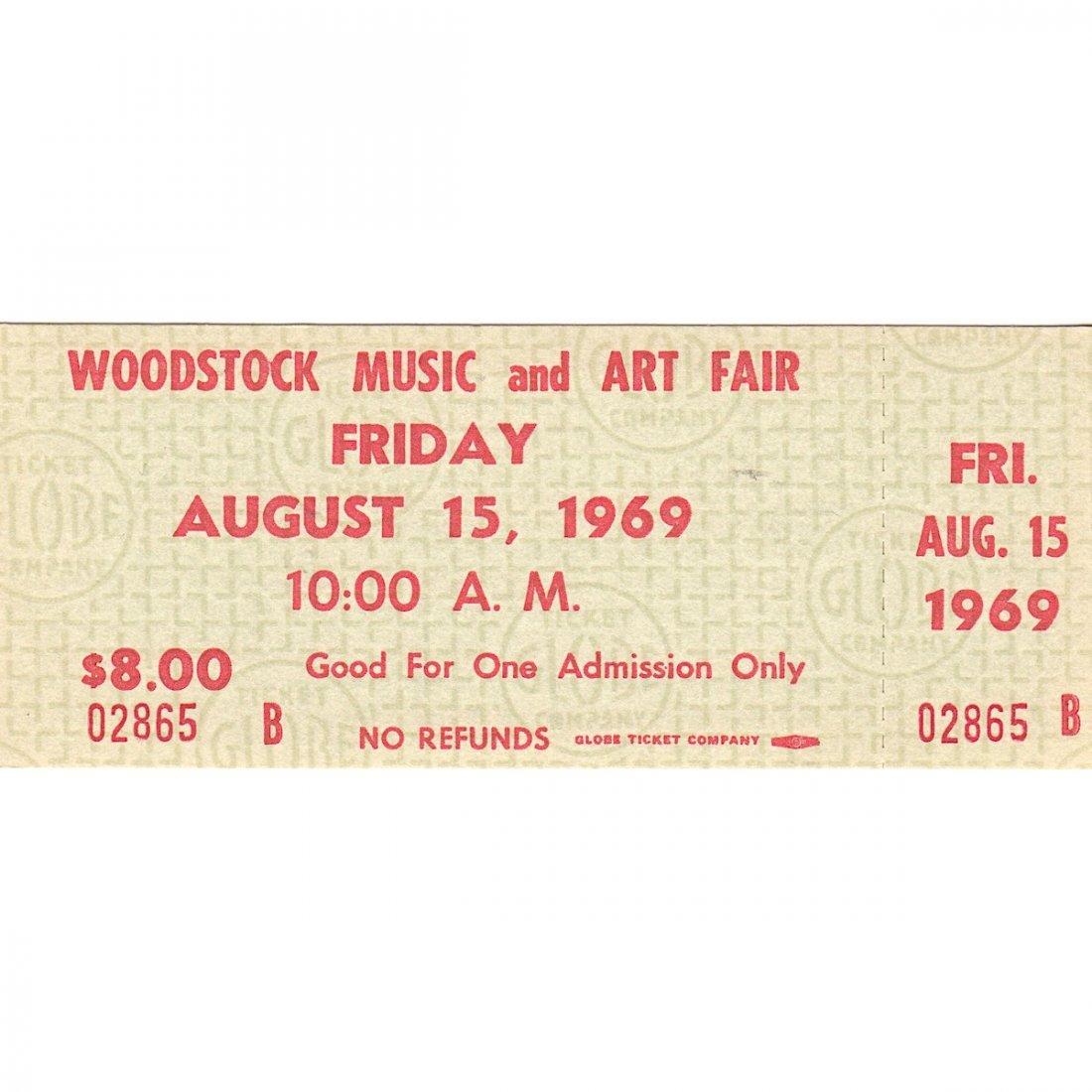 Woodstock - 1969 Friday Vintage Concert Ticket