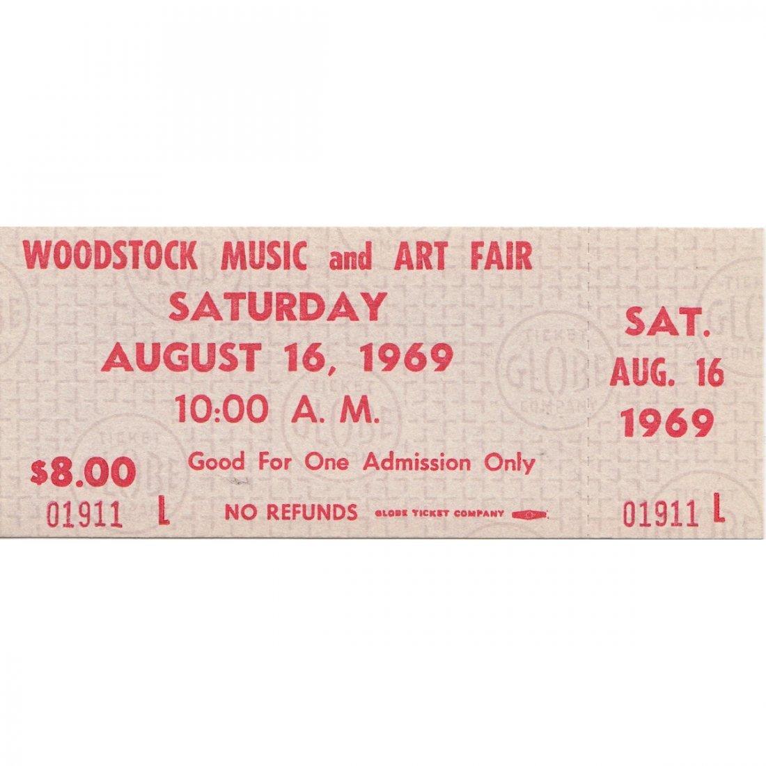 Woodstock - 1969 Saturday Vintage Concert Ticket